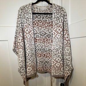 Knox Rose Poncho Style Cardigan Leopard Print